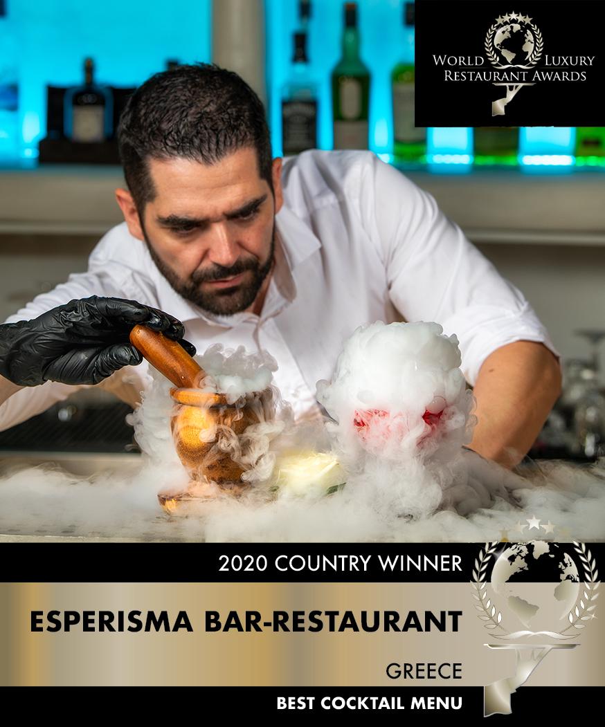 Cocktail - Esperisma Bar-Restaurant win the best cocktail menu award for 2020 by the World Luxury Restaurant Awards!